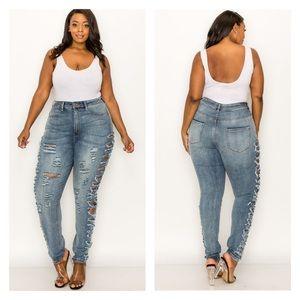 ➕ Destroyed Side Detail Skinny Jeans